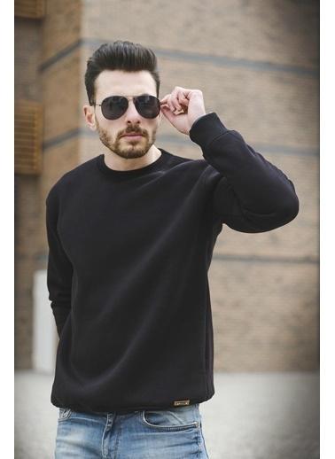 Oksit Zel Pamuklu Slim Fit Sweatshirt Siyah